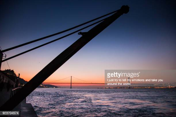 LISBON, PORTUGAL - The Tagus River past the 25 de Abril bridge from Cacilhas