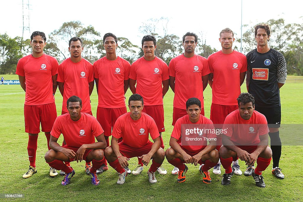 The Tahiti national football team poses for a photo prior to a friendly match between Sydney FC and Tahiti at Macquarie Uni on February 6, 2013 in Sydney, Australia.
