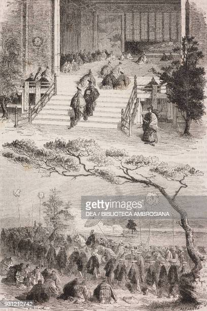 The Taikun visiting the Mikado in Kyoto in 1863 drawing by Emile Antoine Bayard after a Japanese painting from Japan by Aime Humbert 18631864 from Il...
