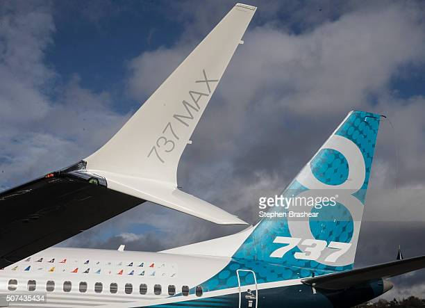 The tail and a next generation winglet of a A Boeing 737 MAX 8 are pictured at Boeing Field after its its first flight on January 29 2016 in Seattle...