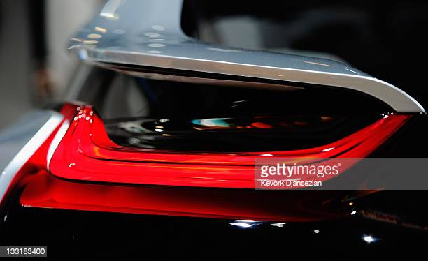 The tail lamp of a BMW i8 plugin hybrid allelectric concept cars is shown during the car's North American debut at the Los Angeles Auto Show on...