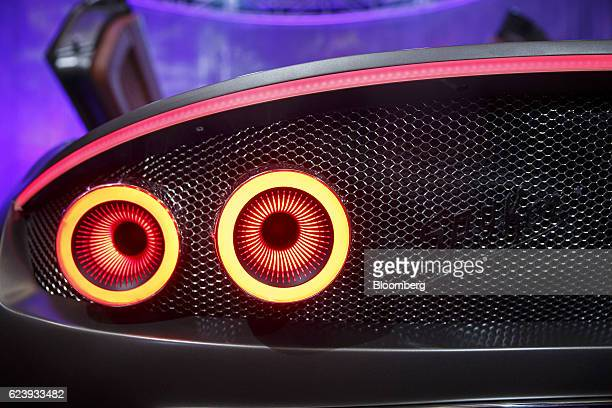 The tail light of a Spyker NV C8 Preliator sports vehicle is seen during Automobility LA ahead of the Los Angeles Auto Show in Los Angeles California...