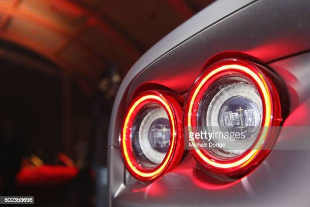 The tail lights of the new Ferrari 812 Superfast is seen at its Australasian Premiere on June 28 2017 in Melbourne Australia The 812 Superfast is the...