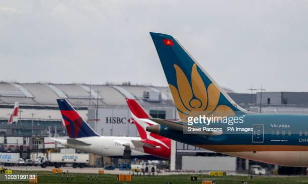 The tail of a Boeing 787-9 Dreamliner owned and operated by Vietnam Airlines at Heathrow Airport. PA Photo. Picture date: Tuesday February 25, 2020....