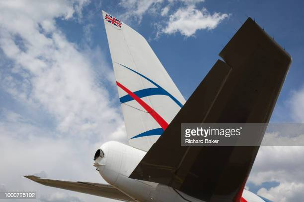 The tail of a British Cargologic 747 at the Farnborough Airshow on 16th July 2018 in Farnborough England Launched in 2015 CargoLogicAir is the United...