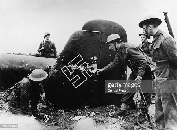 The tail of a German Dornier shot down by RAF fighters over the south coast of England 26th July 1940 23 German aircraft were destroyed in the raid