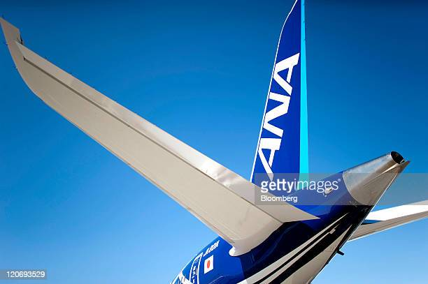 The tail of an All Nippon Airways Co Boeing Co 787 Dreamliner stands at Paine Field in Everett Washington US on Saturday Aug 6 2011 All Nippon...
