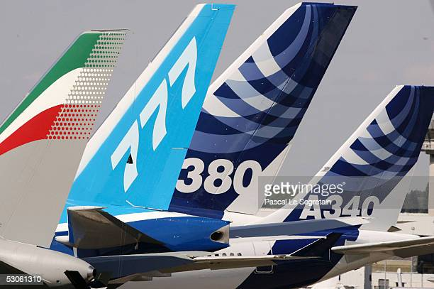 The tail of the Airbus A380 the world's largest passenger liner is seen during the plane's first public appearance at the 46th Paris Air Show June 13...
