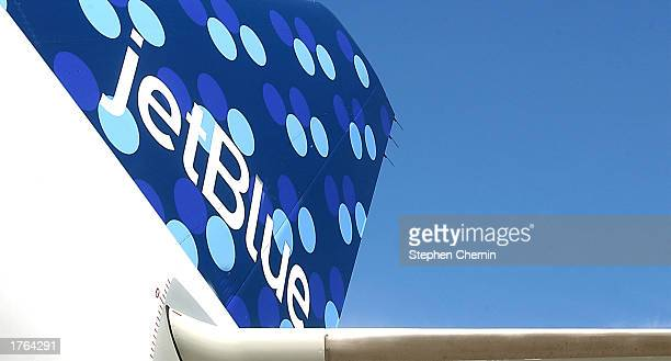 The tail section of Jet Blue's new 38th aircraft featuring the new PucciEsque 1960s style graphics is shown as the aircraft is prepared for it's...