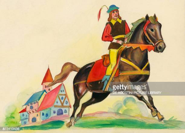 The tailor on horseback illustration for The Brave Little Tailor fairy tale by the Grimm brothers Jacob and Wilhelm drawing
