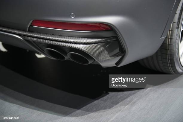 The tailpipe of the Maserati SpA Levante Trofeo vehicle is seen during the 2018 New York International Auto Show in New York US on Wednesday March 28...