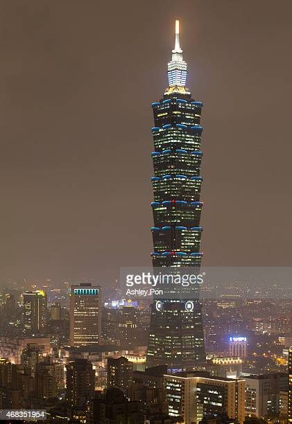 The Taipei 101 building is illuminated in blue to mark the World Autism Awareness Day on April 2, 2015 in Taipei City, Taiwan.
