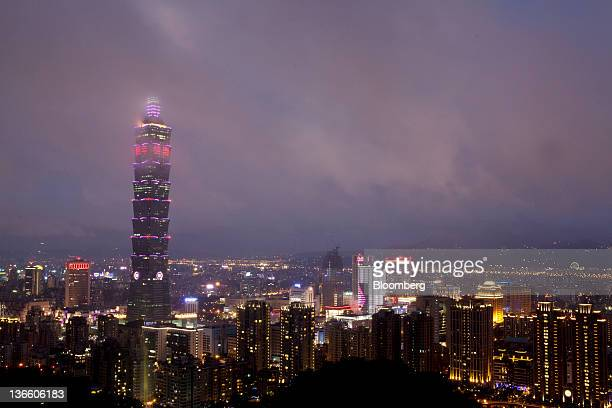 The Taipei 101 building rises out of the skyline in an elevated view of Taipei, Taiwan, on Sunday, Jan. 8, 2012. Taiwan holds presidential elections...
