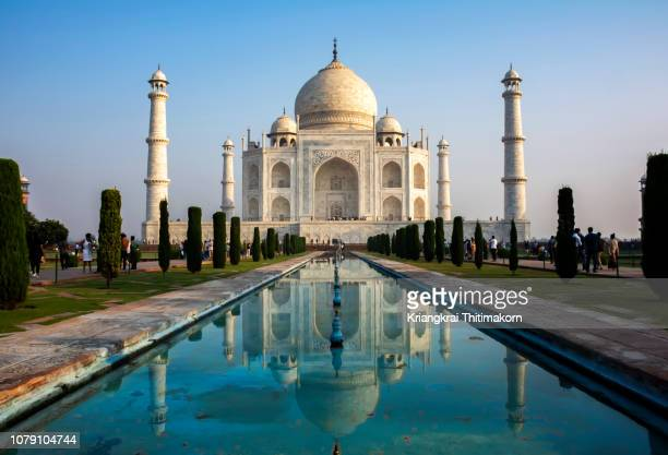 the taj mahal in the morning, india. - ganges river stock pictures, royalty-free photos & images