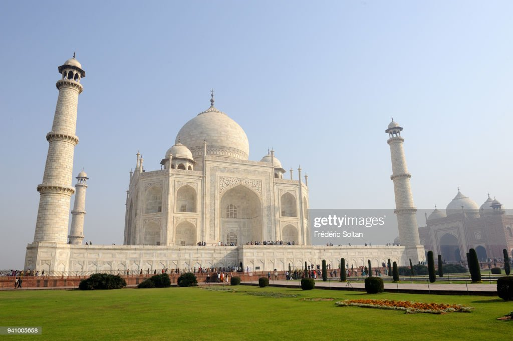 The Taj Mahal is an ivory-white marble mausoleum on the