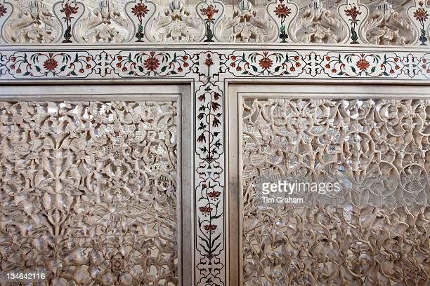 The Taj Mahal mausoleum detail of Pietra Dura jewels inlaid in marble and latticed screens Uttar Pradesh India