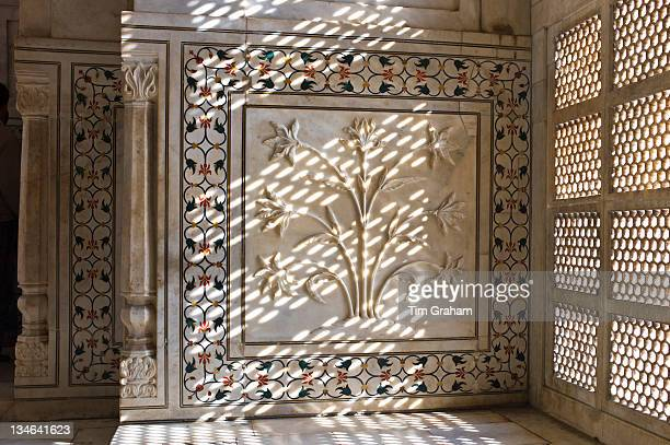 The Taj Mahal mausoleum interior by tombs of Shah Jahan and Mumtaz Mahal Uttar Pradesh India
