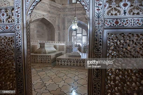 The Taj Mahal mausoleum marble tomb caskets of Shah Jahan and Mumtaz Mahal Uttar Pradesh India