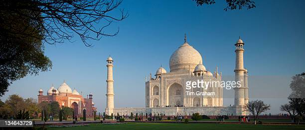 The Taj Mahal mausoleum southern view and Taj Mahal Mosque at dawn Uttar Pradesh India