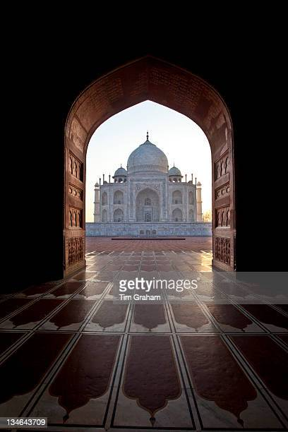 The Taj Mahal mausoleum western view at dawn Uttar Pradesh India
