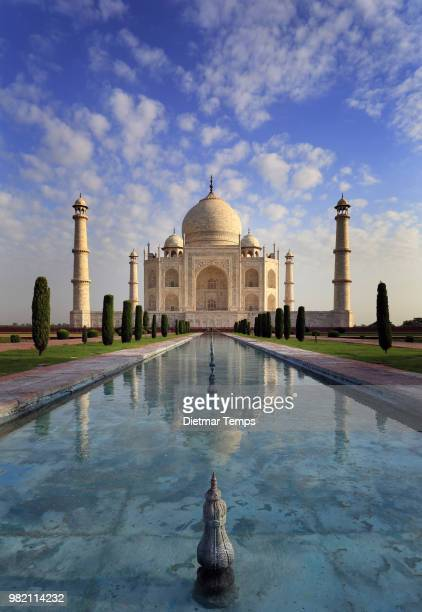 the taj mahal reflected in a poll in agra, india - dietmar temps 個照片及圖片檔