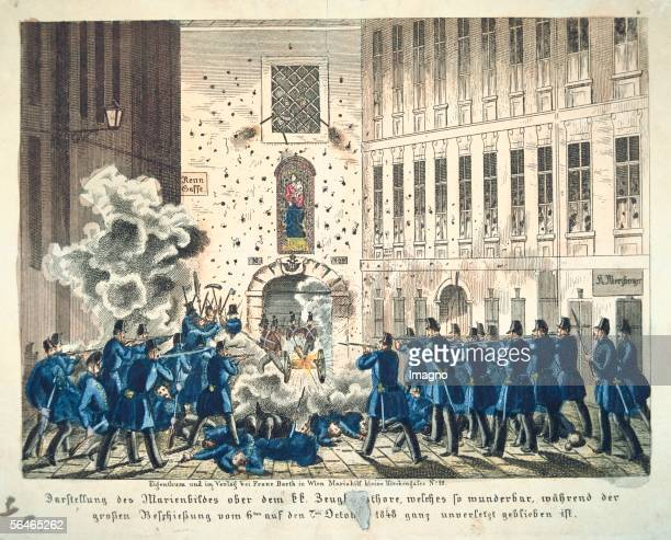 The take over of the armoury on the 7th of October 1848 Coloured lithography by F Werner Publisher Franz Barth Vienna [Der Sturm auf das Zeughaus am...