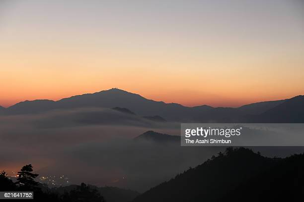 The Takeda Castle ruins are seen in the sea of clouds on November 5 2016 in Asago Hyogo Japan From this year the Asago city chamber of commerce and...