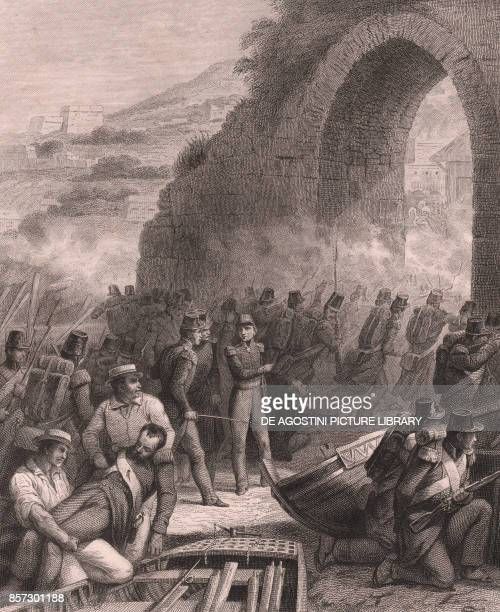 The taking of Bejaia by the French army Algeria steel engraving on china paper 18x14 cm from Galerie Historique de Versailles Histoire de France...