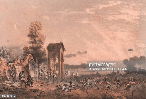 The taking of Magenta cemetery Lombardy Second War of Independence lithograph by Carlo Perrin from the drawing by Carlo Bossoli 22x15 cm from Album...