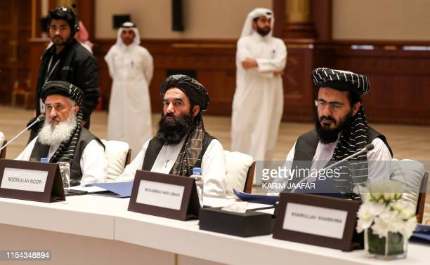 The Taliban's former minister of planning and higher education Qari Din Mohammad Hanif Noorullah Noori and Mohammad Nabi Omari members of the Taliban...
