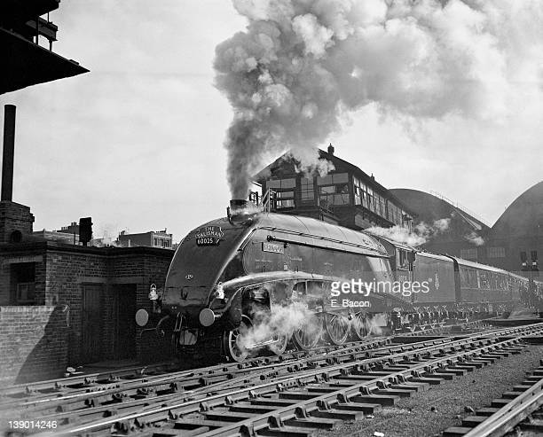 The Talisman pulled by Gresley streamlined A4 Pacific no 60025 'Falcon' leaves King's Cross Station in London on its first run to Edinburgh 17th...