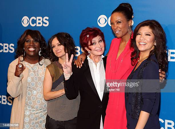 The Talk TV personalities Sheryl Underwood Sara Gilbert Sharon Osbourne Aisha Tyler and Julie Chen attend the 2012 CBS Upfronts at The Tent at...