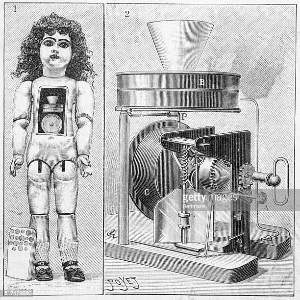 The talking doll, invented by Thomas Edison. View showing the phonograph mechanism in the interior.