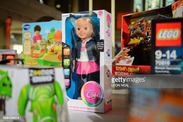 The talking doll 'My Friend Cayla' is displayed at the DreamToys toy fair in central London on November 5 2014 The event sees manufacturers of the...