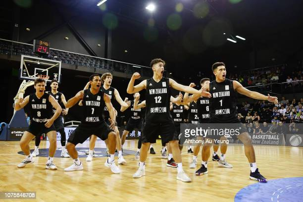 The Tall Blacks perform the haka during the FIBA World Cup Qualifier match between the New Zealand Tall Blacks and Syria at TSB Arena on December 02...