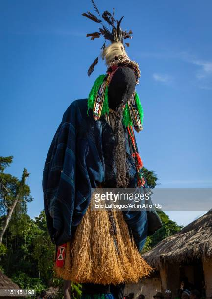 The tall mask dance called Kwuya Gblen-Gbe in the Dan tribe during a ceremony, Bafing, Gboni, Ivory Coast on May 5, 2019 in Gboni, Ivory Coast.