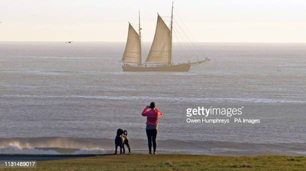 The 'tall ship' William II sails along the north east coast near Whitley Bay in Tyne and Wear after it set off from Blyth in Northumberland on a...