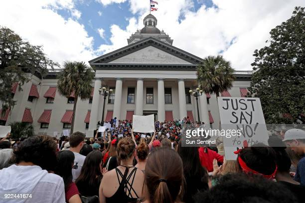 The Tallahassee community attends a gun control rally on the Capitol steps on Wednesday Feb 21 2018