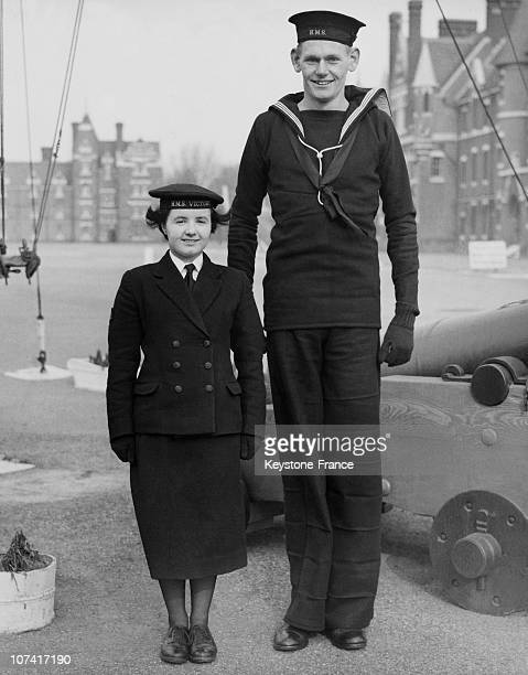 The Tallest And Shortest In Navy At Portsmouth In United Kingdom On February 20Th 1956