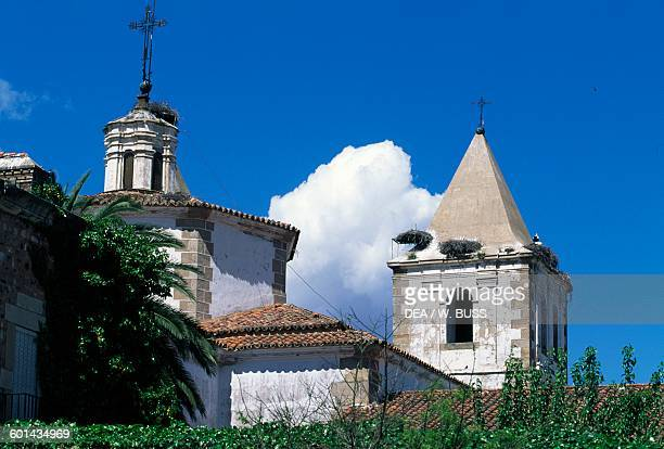 The tambour and one of the two bell towers of the Church of St Francis Xavier Caceres Extremadura Spain 18th century