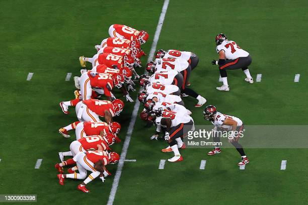 The Tampa Bay Buccaneers and Kansas City Chiefs lines of scrimmage are seen during the first quarter of the game in Super Bowl LV at Raymond James...