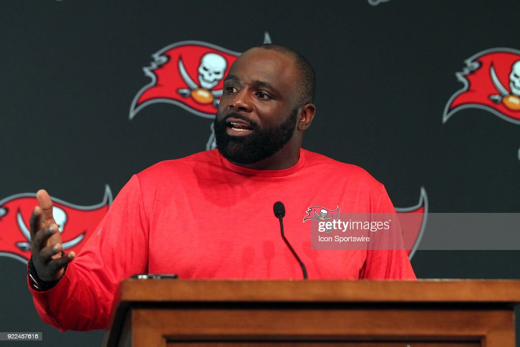 The Tampa Bay Buccaneers announce that they have signed former NFL player Brentson Buckner to coach the Bucs defensive linemen. Buckner speaks to the gathered media on February 21, 2018 at One Buccaneer Place in Tampa, Florida.