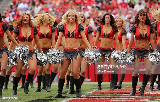 The Tampa Bay Buccaneers cheerleaders perform during a game against the Dallas Cowboys at Raymond James Stadium on November 15 2015 in Tampa Florida