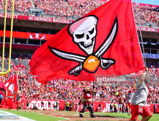 The Tampa Bay Buccaneers flag and mascot makes an appearance after a score during the second quarter against the Cleveland Browns on October 21 2018...
