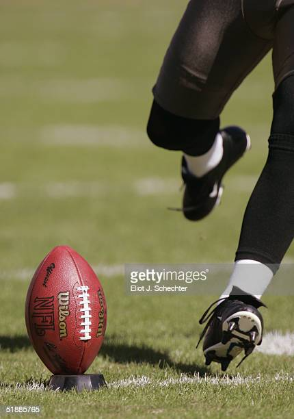 The Tampa Bay Buccaneers punts the ball against the San Francisco 49ers during the game at Raymond James Stadium on November 21 2004 in Tampa Florida...