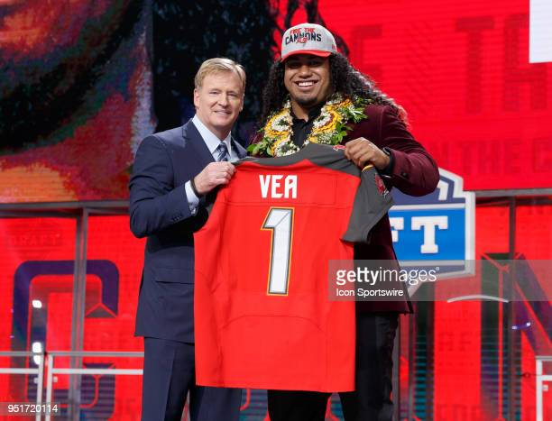 The Tampa Bay Buccaneers select Washington Defensive Tackle Vita Vea twelfth overall during the first round of the NFL Draft on April 26, 2018 at...
