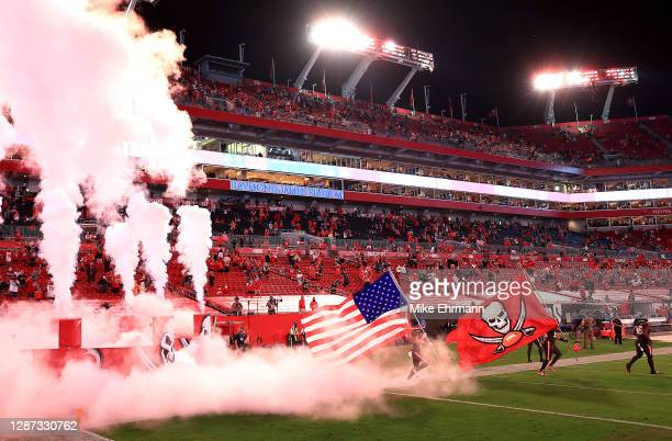 The Tampa Bay Buccaneers take the field prior to facing the Los Angeles Rams at Raymond James Stadium on November 23, 2020 in Tampa, Florida.