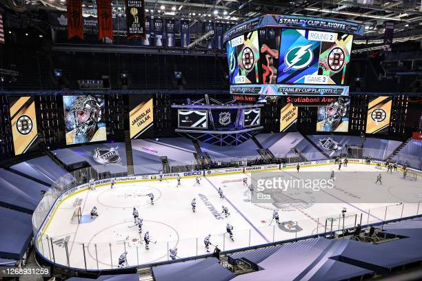 The Tampa Bay Lightning and Boston Bruins warm-up prior to Game Three of the Eastern Conference Second Round during the 2020 NHL Stanley Cup Playoffs...