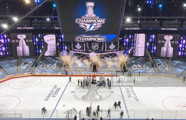The Tampa Bay Lightning are presented with the Stanley Cup following the series-winning victory over the Dallas Stars in Game Six of the 2020 NHL...