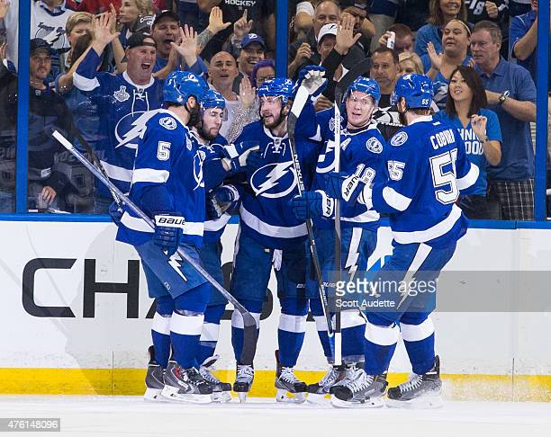 The Tampa Bay Lightning celebrate a goal by Nikita Kucherov against the Chicago Blackhawks during the second period in Game Two of the 2015 NHL...
